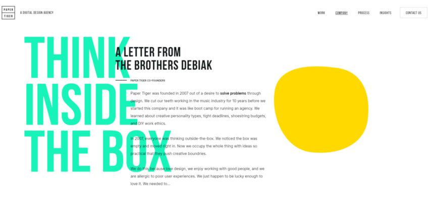 Webdesign-Trends: Ausbrechende Schrift
