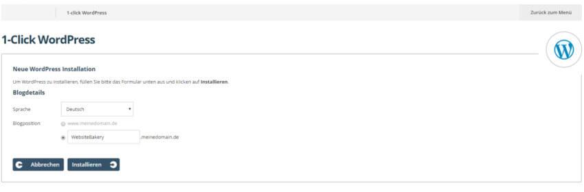 Dank 1-Click-Software ist WordPress in wenigen Sekunden installiert - hier beispielhaft beim Anbieter One.com
