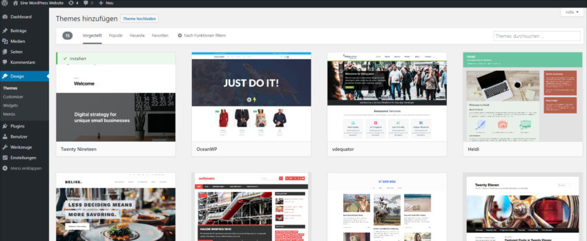 Eine Auswahl kostenloser Themes können Sie direkt über das WordPress-Backend installieren.